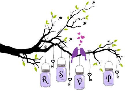 RSVP, wedding invitation with birds, jars and keys, vector