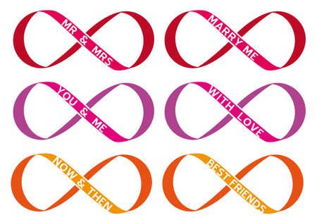 never ending love, infinity sign, endless symbol, vector set