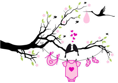 cute baby shower design with birds on tree, vector background