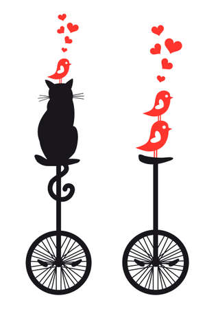 cat and birds on vintage mono cycle, vector illustration