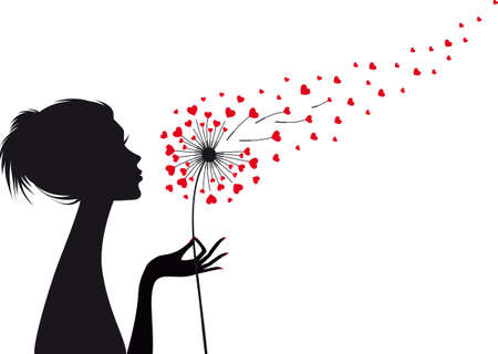 woman holding dandelion with flying red hearts, vector illustration