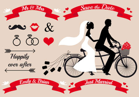 wedding set, bride and groom on tandem bicycle, graphic design elementsのイラスト素材