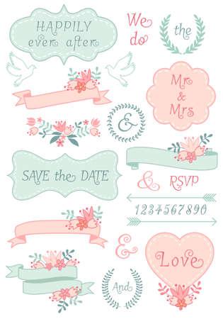 vintage wedding frames and ribbons, floral laurel wreath, set of vector design elements