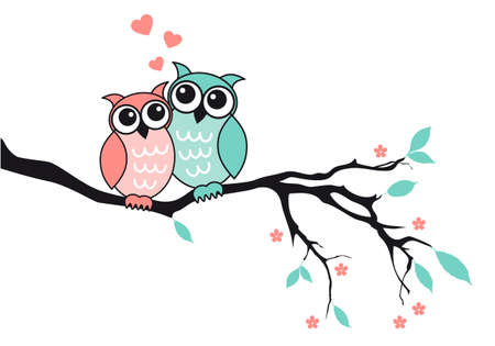 Cute owl couple sitting on tree branch, vector illustration