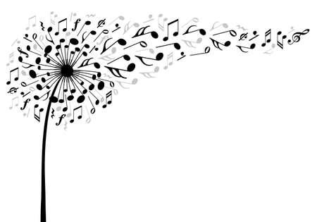 music dandelion flower with flying musical notes, vector illustration