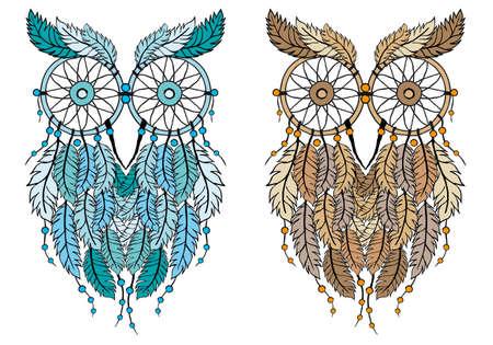 dreamcatcher owl, hand-drawn vector illustration
