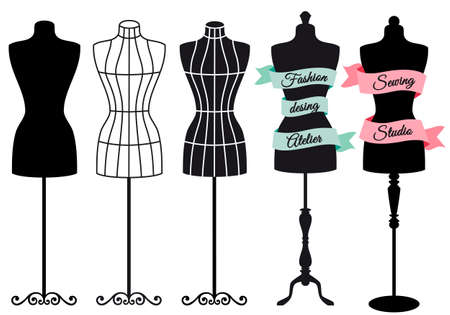 Ilustración de Fashion mannequins for shops, sewing studios, boutiques, vector set - Imagen libre de derechos