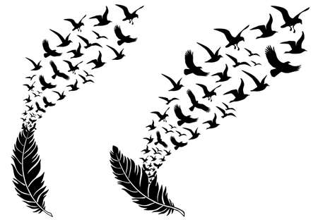 Illustration pour feathers with free flying birds, vector illustration for a wall tattoo - image libre de droit