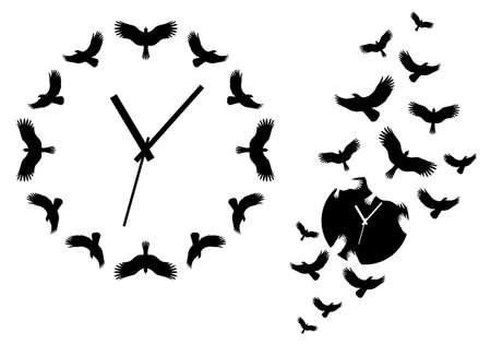 time flies, clocks with flying birds for wall art, vector design elements
