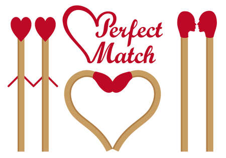 Perfect match, matches in love, heart shape, set of vector graphic design elements