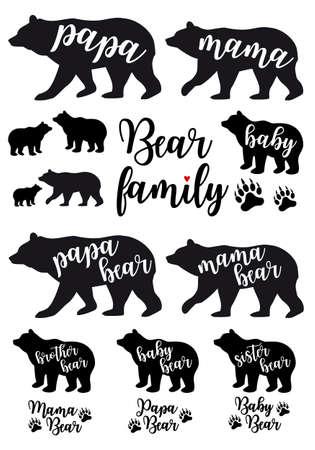 Illustration pour Mama bear, papa bear, baby bear silhouettes, set of vector graphic design elements - image libre de droit