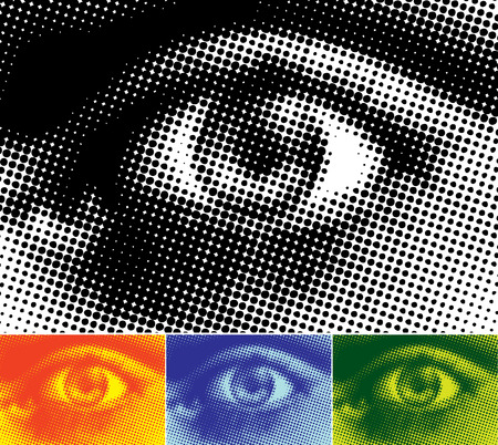 Vectored illustration of a human eye in halftone dots. Four colour variations.