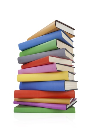Stack of books on white