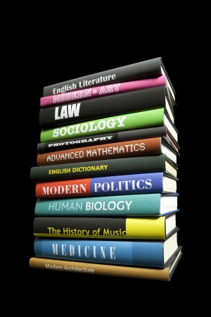 Real book subjects on black