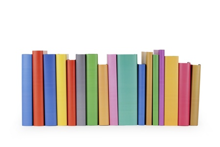Row of books on white background.