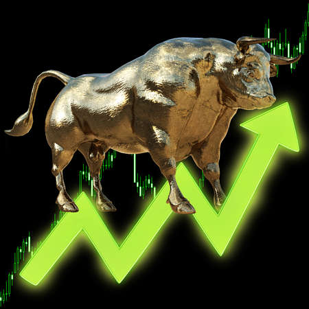 golden bull with chart, 3D rendered.  foreign exchange concept