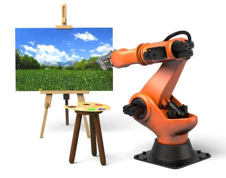 Foto de Very high resolution 3d rendering of an industrial robot painting  - Imagen libre de derechos