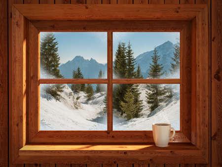 Foto de Idyllic and peacefull winter landscape of snowy mountains - Imagen libre de derechos