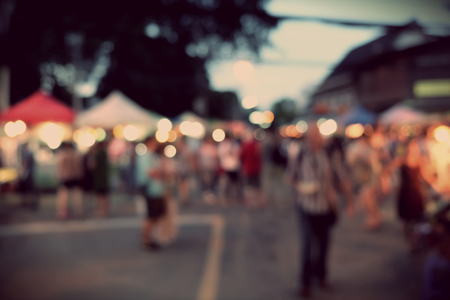 Night Festival Event Party on street with People Blurred Background, vintage tone