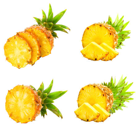 Fresh slice pineapple isolated over white background.