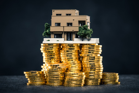 A large amount of money and house model