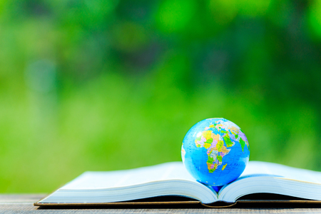 Foto per The globe placed on the book and green blur background - Immagine Royalty Free