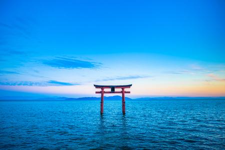 Photo for Torii and Lake Biwa, Shiga Prefecture in Japan - Royalty Free Image