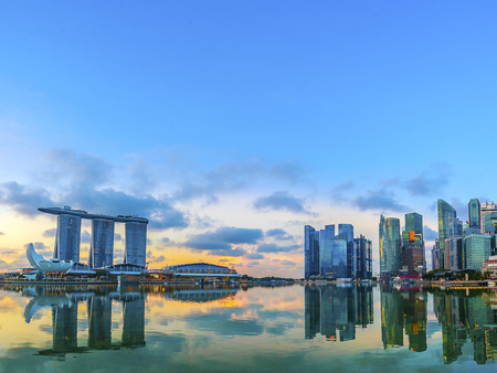 Photo for SINGAPORE, May 17,2018 : View of Singapore skylines.Financial District buildings and Marina bay sand. - Royalty Free Image