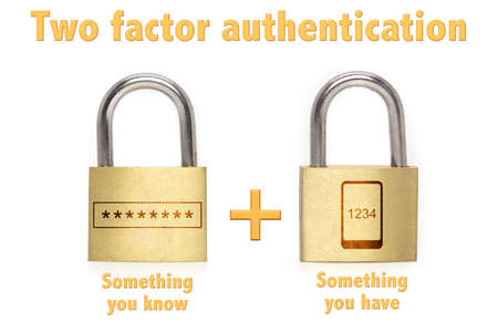 Two factor authentication concept with two padlocks isolated on white and the phrase something you know and have and a mobile plus password icon