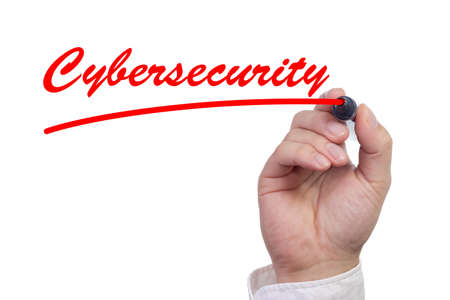 Hand writing cybersecurity on screen