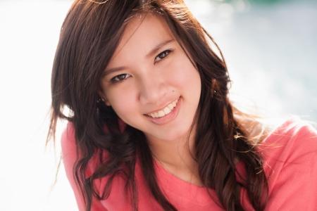 Beautiful young woman smiling  Portrait of asian woman