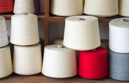 The many white textile yarn.