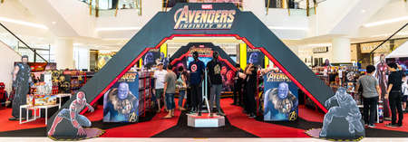 Photo for Bangkok, Thailand - Apr 26, 2018: Avenger Infinity War Movie promotional event and toy sale exhibition booth held in shopping center in Bangkok, Thailand - Royalty Free Image