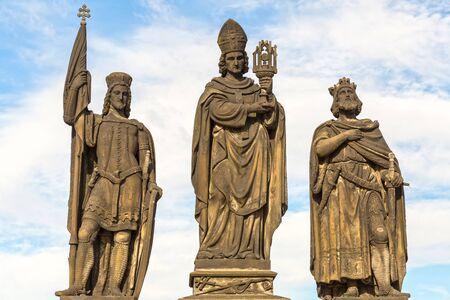 Foto de Sculptures  Charles Bridge. Statues of three figures - Saint Norbert, St. Vaclav and St. Sigismund. Prague Czech Republic February 2017 year - Imagen libre de derechos