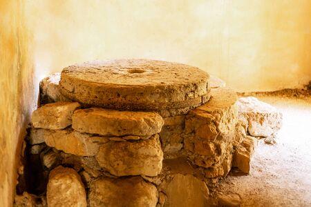 Foto de traditional flour production heavy stones flour mill old weathered destroyed - Imagen libre de derechos