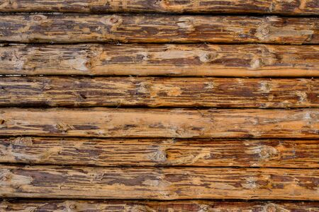 Photo pour wooden background from old and weathered planks of beige and brown horizontal pattern - image libre de droit