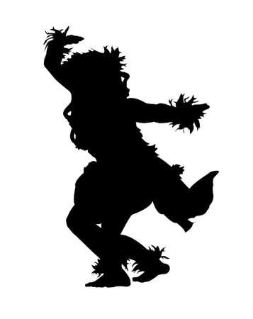Illustration for Black silhouette of a female Hula dancer on a white background - Royalty Free Image