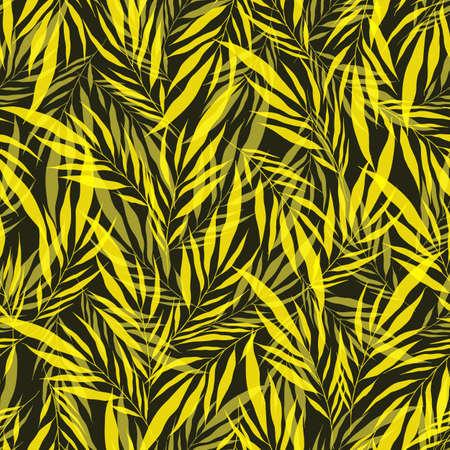 Illustration pour Minimalistic yellow transparent leaves palm tree on green backdrop. Vintage exotic collage tropical plants seamless pattern. Contemporary vector decoration art. Tropic chaos illustration. - image libre de droit