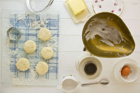 English scones, cut out and ready to be baked. Part of a series on the preparation of scones.