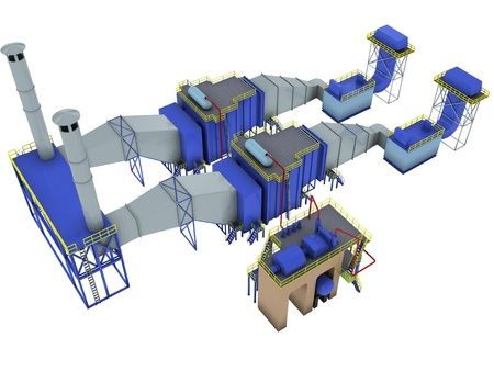 abstract factory interior,  gas-turbine power plant , 3d render isolated on white