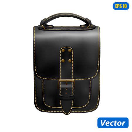 Ilustración de photorealistic handbag isolated on white background vector illustration - Imagen libre de derechos