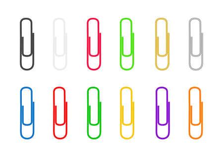Ilustración de Paper clips are colored on white background. Vector illustration. - Imagen libre de derechos