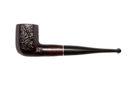 Photo pour Smoking pipe made of wood isolated on white background. - image libre de droit