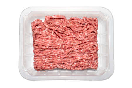 Photo pour Minced meat in a transparent plastic container. - image libre de droit