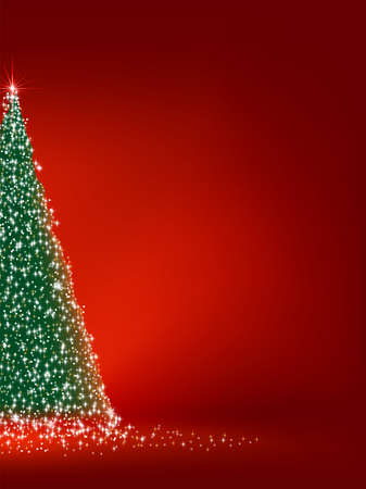 Abstract green christmas tree on red background.