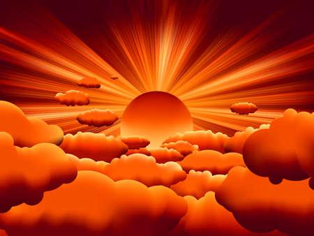Illustration pour sunburst. sunset on cloud.  - image libre de droit