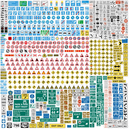 More than Six hundred fully editable vector european traffic signs with details ready to use