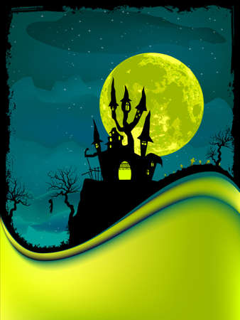 Illustration of dark scary halloween night.