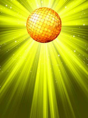 Sparkling yelloe green disco ball
