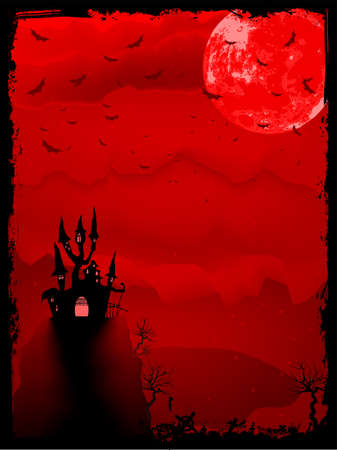 Spooky Halloween composition with horror house and popular holiday attributes